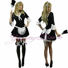French Maid Victorian Fancy Dress Costume Ladies Outfit Plus Size 6-20 Hen Night