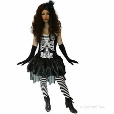 Ladies Skeleton Fancy Dress Halloween Costume Womens Outfit Size 8-18 Stockings