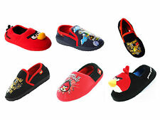 BOYS OFFICIAL ANGRY BIRDS FULL SLIP ON CHARACTER NOVELTY SLIPPERS UK SIZE 10-2
