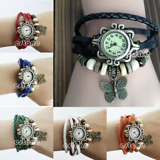 Fashion Lady Woman Retro Weave Around Leather Bracelet Watch Quartz Wrist Watch