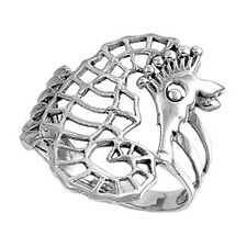 Sterling Silver Woman's Sea Horse Unique Ring Fashion 925 Band 16mm Sizes 3-10