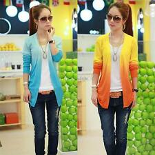 Women Sweet Gradient Color Knit Blouse Top Coat Cardigan Shirt Shawl Sweater