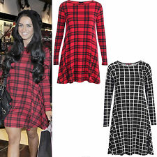 Ladies Womens Celeb Style Vicky Tartan Check Print Swing Flared Skater Tee Dress