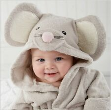 lovely gray mouse baby Bath Hooded TERRY Towel Robe for fun bathtime