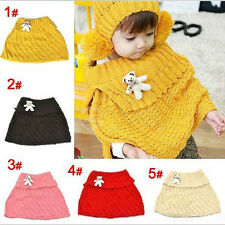 Fashion Chic Cute Baby Toddler Kids Knitted Scarf Wrap Cappa With a Bear  LT