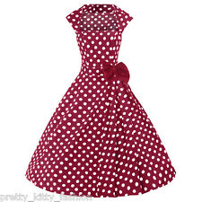 PRETTY KITTY ROCKABILLY 50s RED POLKA VINTAGE STYLE SWING PROM DRESS 8-24 PLUS