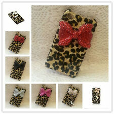 Sweet Bling Crystal Rhinestone Leopard Bow Case Cover for iPhone 6 iPhone 6 Plus