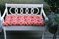 Red and Ivory Geometric Tufted Cushion for Bench~Swing~Glider, Choose Size