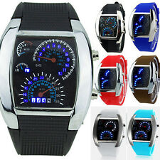 Popular Mens RPM Turbo Blue Flash LED Car Sports Speedometer Steel Wrist Watch