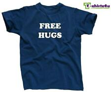 FREE HUGS Funny College Party Pick Up Line Peace Love Nice T-Shirt NEW - Blue