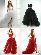 New Organza White Black Red High Low Prom Bridal Gown Pageant Deb Wedding Dress