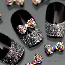 Lot 10pcs Glitter Crystal Bowknot Studs 3D Nail Art Tips Craft DIY Accessories