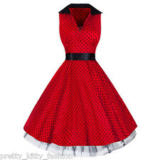 PRETTY KITTY 50s ROCKABILLY RED POLKA DOT PRINT VINTAGE SWING PROM PARTY DRESS