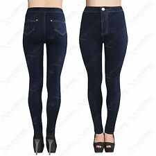 LADIES HIGH WAISTED INDIGO BLUE TUBE JEANS STRETCH SKINNY FIT DISCO PANTS