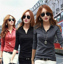 Korean Fashion Womens Slim V-neck Casual Long Sleeve T-shirt Tops Blouse 5Colors