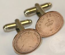 Coin Cufflinks - British Half Pence Cufflink Pair Your Choice of Date 1971 to 83