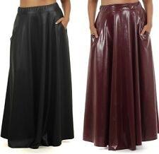 PLUS FAUX LEATHER HIGH WAIST SIDE POCKET FULL SWEEP LONG MAXI SKIRT 1X 2X 3X