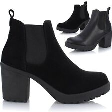 Womens Ladies Chunky Cleated Platform Sole Block Heel Chelsea Ankle Boots Shoes