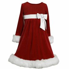Bonnie Jean Girls Sequin Side Bow Glitter Velvet Santa Christmas Dress 4 5 6 6X