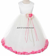 Satin Bodice Flower Baby Girl Pageant Petal Dress Wedding Christmas Pageant Prom