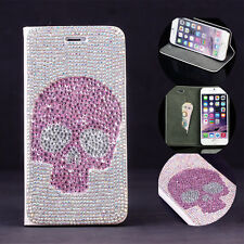 For Apple iPhone Bling Punk Cute Pink Crystal Skull Rhinestone Flip Wallet Case