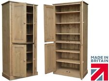 Solid Pine Storage Cupboard, 4 Door Linen,Pantry,Shoe, School, Kitchen Cabinet