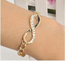 Gold/Silver Jewelry New Fashion Cute Crystal Rhinestone Infinity Chain Bracelet