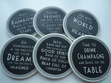 Black & white porcelain coaster wise words East of India NEW IN