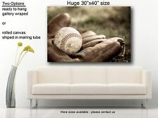 "Vintage style canvas print baseball glove and ball, art photography 30""x40"""