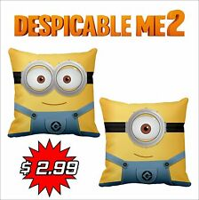 "14"" Satin Hold Cushion Cover Despicable me 2 Pattern Pillow Minions Carl - Dave"