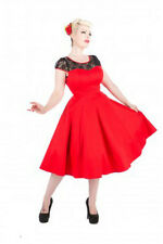 New H&R VTG 1950's 60's style Red Black Lace Rockabilly Party Prom Dress