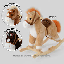 Kids Rocking Horse Toy Neighing Trotting Sound Childrens Traditional Pony Rocker