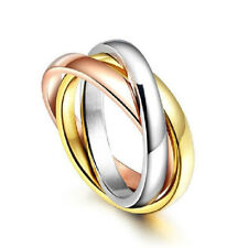 Womens Tri-colored Engagement Wedding New Silver&Rose Gold Stainless Steel Ring