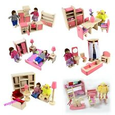 Hot Wooden Dolls House Furniture Miniature 6 Room Set/4 Dolls For Kid Christmas