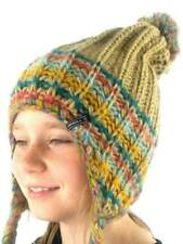 O'Neill Pompom hat Cap Beanie Hat Girls Peruvian brown Knitted Cord