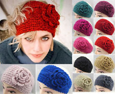 Popular Crochet Headband Knit hairband Flower Winter Women Ear Warmer Headwrap