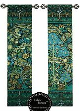 WILLIAM MORRIS TREE OF LIFE BLUE GREEN WOOD PANEL JACQUARD TAPESTRY WALL HANGING