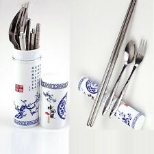 Chinese Style Portable Cutlery Porcelain Tableware Chopsticks Spoon Fork CC