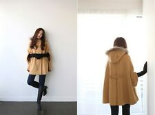 Fashion Cloak trench parka jacket womens fur collar wool Cape shawl coat outwear
