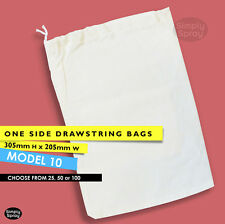 Drawstring CALICO BAGS natural cotton pouch bulk lots of 25 or 50 205w 305h mm