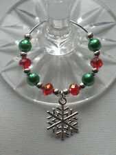 Christmas Wine Glass Charms Snowflake Green and Red AB Crystal Glass