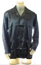 NWT $79 Intimo men's Luxury Classic L/S Pajama Shirt Black Satin polyester *M