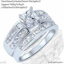 Princess Cut White Sapphire Engagement Sterling Silver Two Ring Set Size 3 - 12