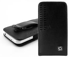 Premium Vertical Leather Fixed Swivel Belt Clip Holster Case for BLU Cell Phones