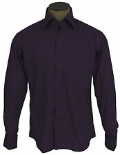 Men's Wrinkle Free Cotton Blend French Cuff Dress Shirts - Prune
