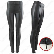 NEW WOMENS LADIES HIGH WAISTED BLACK PU LEGGINGS LEATHER LOOK STRETCH FIT PANTS
