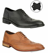 MENS CASUAL LEATHER LACE UP BROGUE OFFICE WORK FORMAL PARTY SMART SHOES SIZE