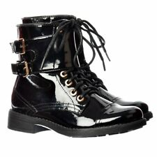 Womens Military Combat Biker Short Ankle Boot Lace Up Double Buckle Black Size