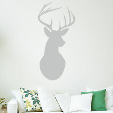 Stags Head Wall Sticker Art Decal - Deer Antlers Vintage Decoration Shabby Chic