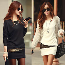 Fashion Womens Autumn and Winter Long Sleeve Fitted Party Cocktail Mini Dress